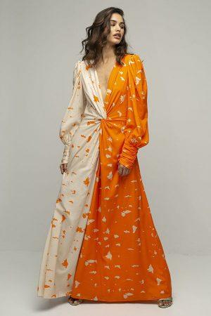 ARaise vestido largo dos colores naranja estampado manga larga 1