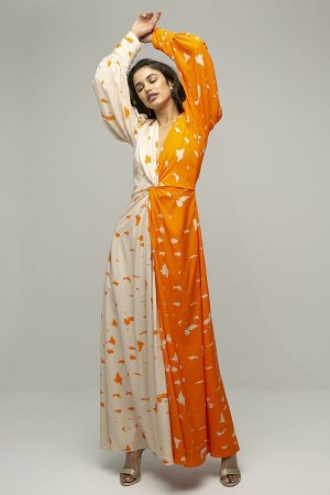 ARaise vestido largo dos colores naranja estampado manga larga 2