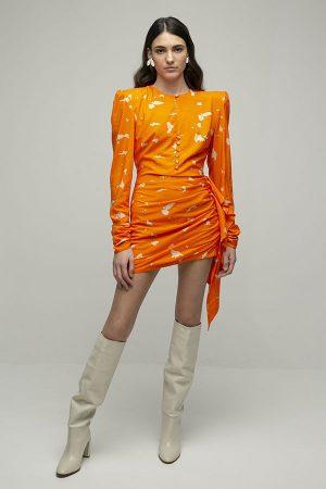 Araise vestido corto estampado volantes 2