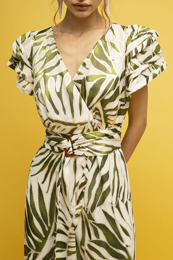 Azulu vestido dalia cruzado cinturon crema verde manga corta 4