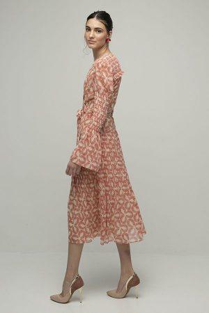 alquiler de vestido midi fiesta ani cruzado estampado frunces de manga larga del diseñador diane von furstenberg 2