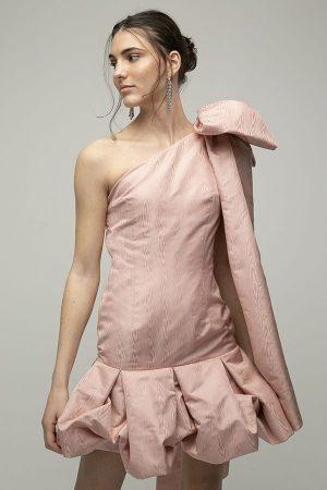 Encinar vestido Miranda lazo hombro moire rosa corto 1