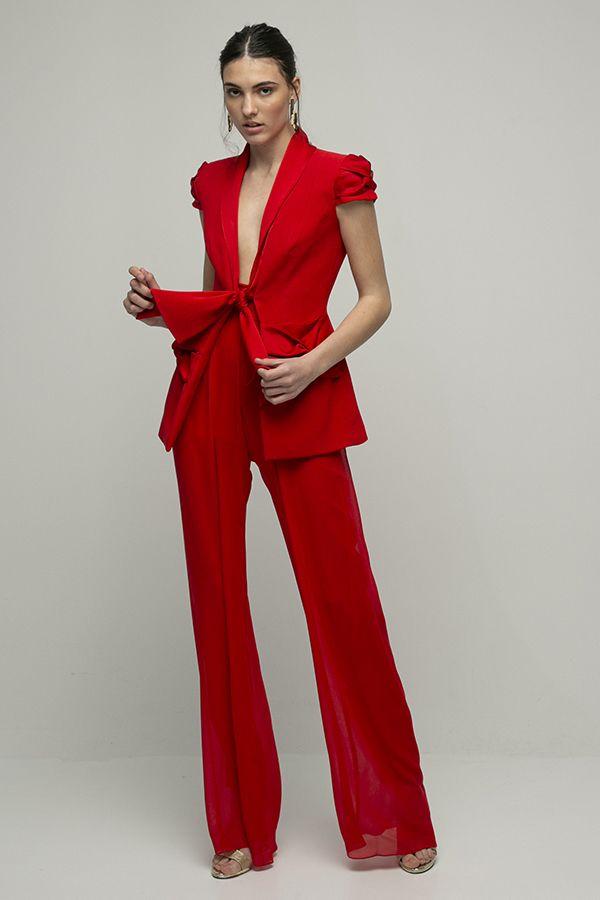 Inunez mono rojo conjunto chaqueta pantalon seda manga corta 1