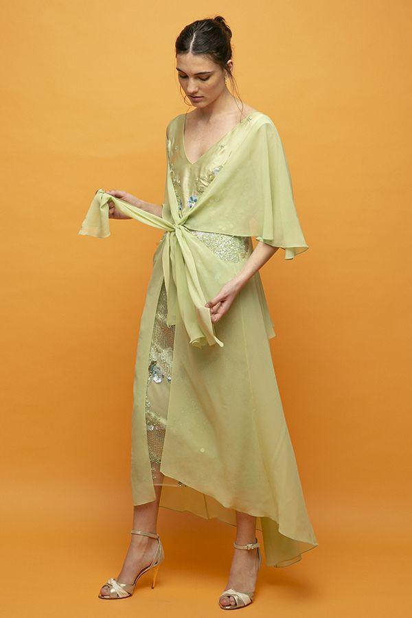 Inunez vestido nudo frontal lentejuelas verde seda midi 1