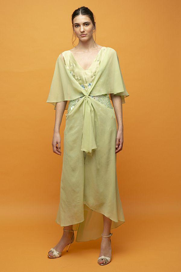 Inunez vestido nudo frontal lentejuelas verde seda midi 3