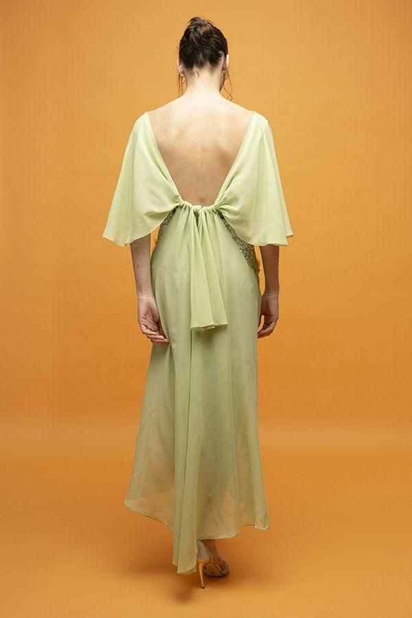 Inunez vestido nudo frontal lentejuelas verde seda midi 4