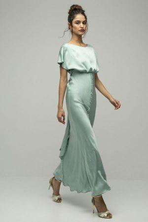 Inunez vestido seda cintura atada verde azul 1