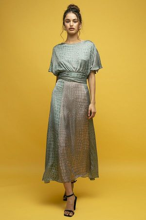Inunez vestido seda estampado lazada cintura manga corta 1