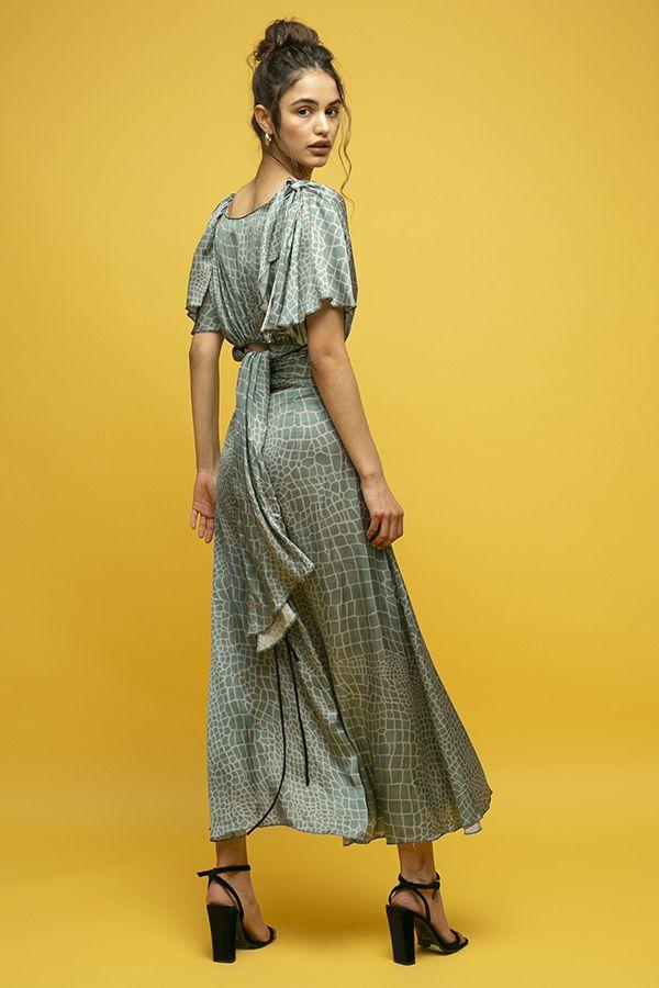 Inunez vestido seda estampado lazada cintura manga corta 3