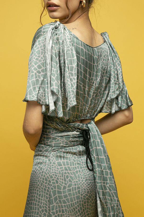 Inunez vestido seda estampado lazada cintura manga corta 4