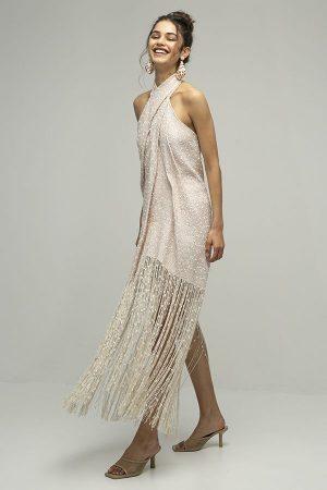 Jacquemus cortese vestido midi flecos blanco 2