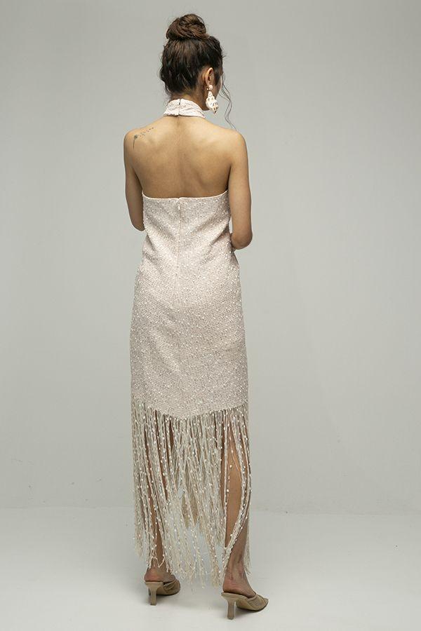 Jacquemus cortese vestido midi flecos blanco 3