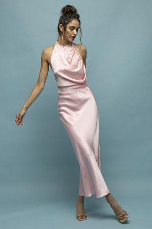 alquiler de vestido midi de fiesta rosa espalda abierta fruncido del diseñador Materiel 1