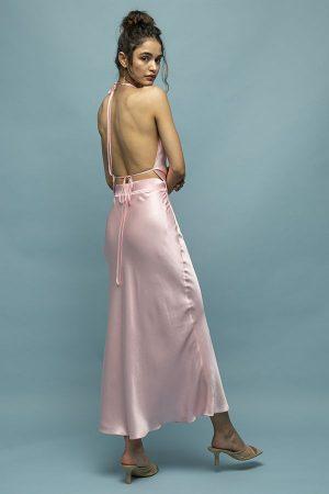 alquiler de vestido midi de fiesta rosa espalda abierta fruncido del diseñador Materiel 2