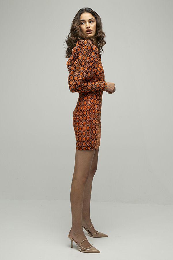 ROTATE birger christensen Ida vestido corto encaje naranja hombreras 2
