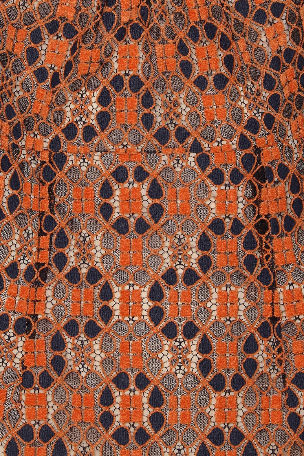 ROTATE birger christensen Ida vestido corto encaje naranja hombreras 6