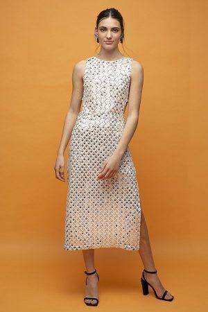 ROTATE birger christensen Toriana midi lenteguelas cutout vestido 1