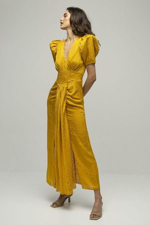 alquiler de vestido midi fiesta alma amarillo mostaza del diseñador Rotate Biger Christensen 6