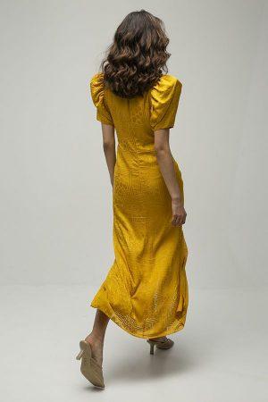 alquiler de vestido midi fiesta alma amarillo mostaza del diseñador Rotate Biger Christensen 5
