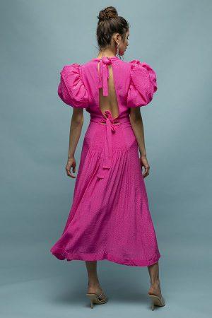 ROTATE dawn vestido fucsia rosa manga abullonadas midi 1