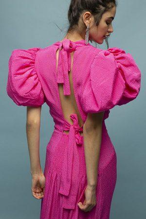 ROTATE dawn vestido fucsia rosa manga abullonadas midi 3