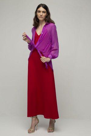 vestido largo de fiesta Racil Ayala chaqueta rojo rosa 1.5
