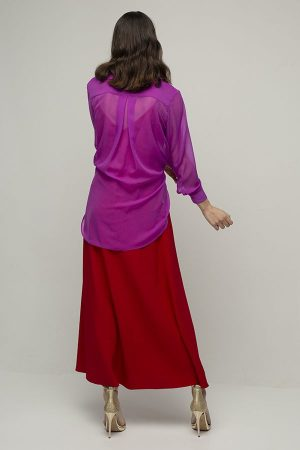 vestido largo de fiesta Racil Ayala chaqueta rojo rosa 2