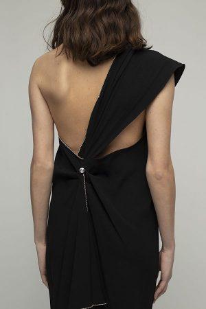 Vestido de fiesta largo de Racil Flavia lazada negro espalda midi 1