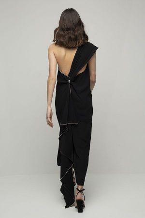 Vestido de fiesta largo de Racil Flavia lazada negro espalda midi 2