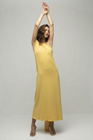 Vestido de fiesta largo de Racil Flavia amarillo lazada espalda largo 1