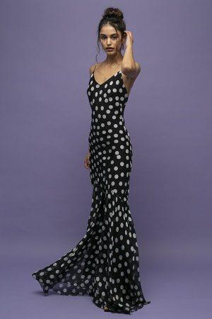 Vestido de fiesta largo de tirantes Rat&Boa Camille de lunares negros y blancos 1