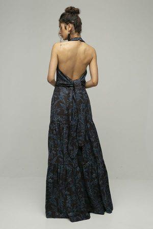 Vestido de fiesta largo Rebeca Vallance estampado espalda abierta azul negro 2
