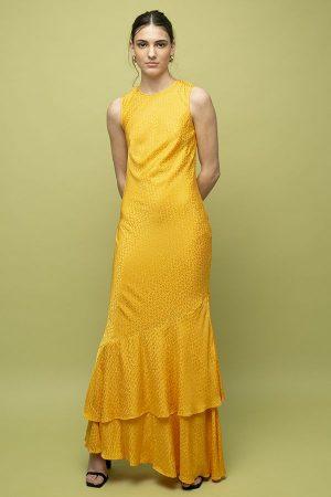 Vestido de fiesta largo Rebecca Vallance Isobella amarillo seda 1