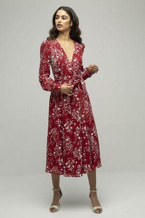 Reformation susanna vestido cruzado rojo estampado 1
