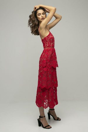 Self portrait vestido encaje rojo midi floral tirantes midi 2