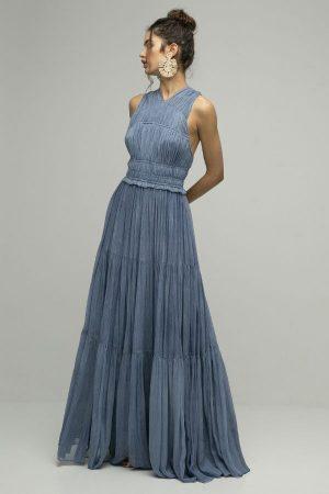 Vestido de fiesta largo Ulla Johnson azul espalda cruzada gasa 1
