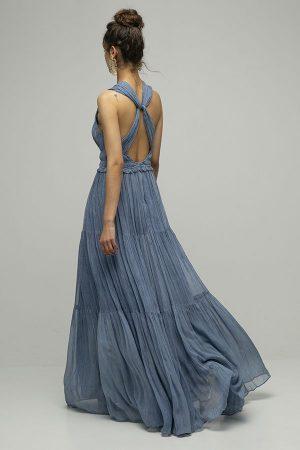 Vestido de fiesta largo Ulla Johnson azul espalda cruzada gasa 2