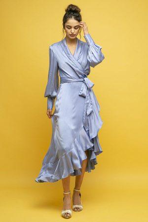 Zimmermann vestido seda cruzado azul manga larga midi 1