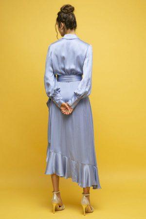 Zimmermann vestido seda cruzado azul manga larga midi 2