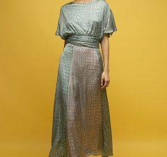 Inunez-vestido-seda-estampado-lazada-cintura-manga-corta-1